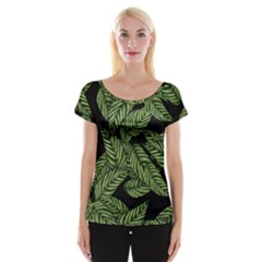 Tropical Leaves On Black Cap Sleeve Top