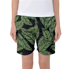Tropical Leaves On Black Women s Basketball Shorts