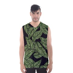 Tropical Leaves On Black Men s Basketball Tank Top