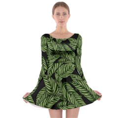 Tropical Leaves On Black Long Sleeve Skater Dress