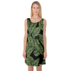Tropical Leaves On Black Sleeveless Satin Nightdress