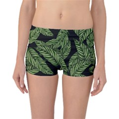 Tropical Leaves On Black Boyleg Bikini Bottoms