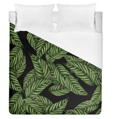 Tropical Leaves On Black Duvet Cover (queen Size)