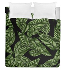 Tropical Leaves On Black Duvet Cover Double Side (queen Size)