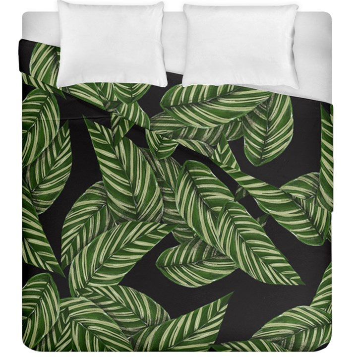 Tropical Leaves On Black Duvet Cover Double Side (King Size)
