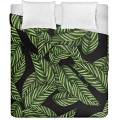 Tropical Leaves On Black Duvet Cover Double Side (california King Size)