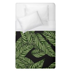 Tropical Leaves On Black Duvet Cover (single Size)