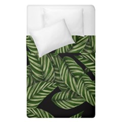 Tropical Leaves On Black Duvet Cover Double Side (single Size)