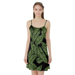 Tropical Leaves On Black Satin Night Slip