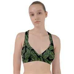 Tropical Leaves On Black Sweetheart Sports Bra