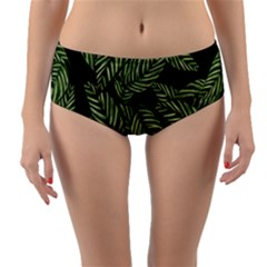 Tropical Leaves On Black Reversible Mid Waist Bikini Bottoms