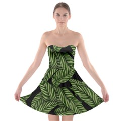 Tropical Leaves On Black Strapless Bra Top Dress