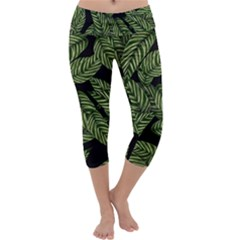 Tropical Leaves On Black Capri Yoga Leggings
