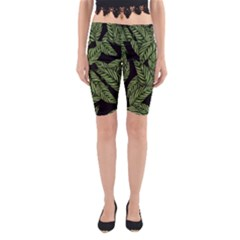Tropical Leaves On Black Yoga Cropped Leggings