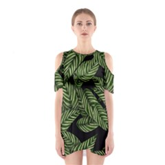Tropical Leaves On Black Shoulder Cutout One Piece Dress