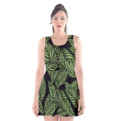 Tropical Leaves On Black Scoop Neck Skater Dress