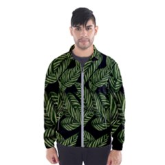 Tropical Leaves On Black Windbreaker (men)