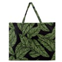 Tropical Leaves On Black Zipper Large Tote Bag View1