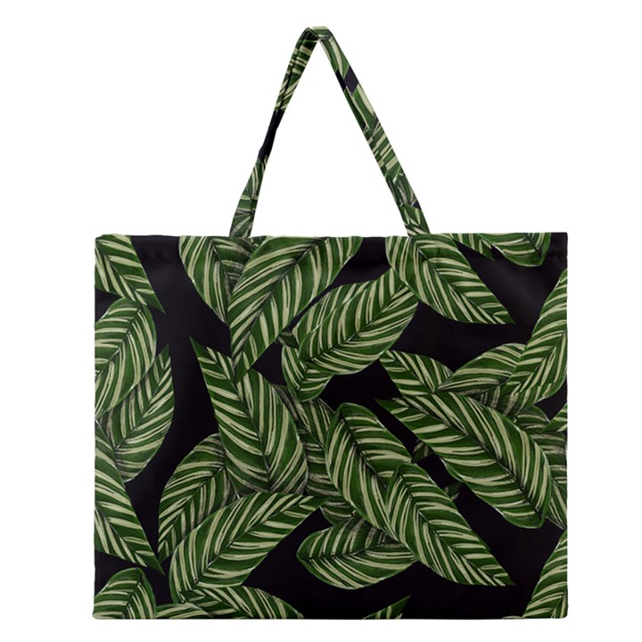 Tropical Leaves On Black Zipper Large Tote Bag