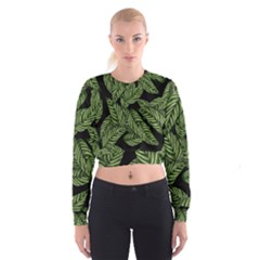 Tropical Leaves On Black Cropped Sweatshirt