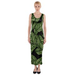 Tropical Leaves On Black Fitted Maxi Dress