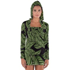 Tropical Leaves On Black Long Sleeve Hooded T Shirt