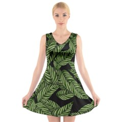 Tropical Leaves On Black V Neck Sleeveless Dress