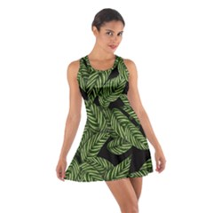 Tropical Leaves On Black Cotton Racerback Dress