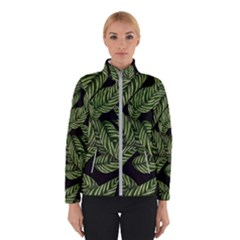 Tropical Leaves On Black Winter Jacket