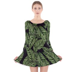 Tropical Leaves On Black Long Sleeve Velvet Skater Dress