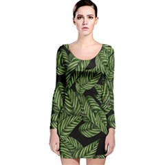 Tropical Leaves On Black Long Sleeve Velvet Bodycon Dress