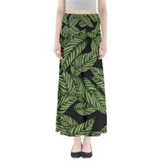 Tropical Leaves On Black Full Length Maxi Skirt