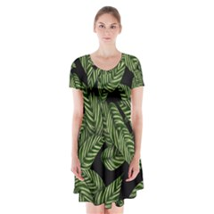 Tropical Leaves On Black Short Sleeve V Neck Flare Dress