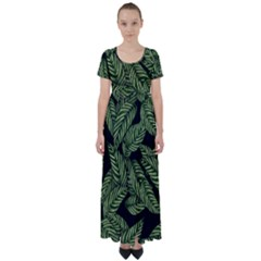 Tropical Leaves On Black High Waist Short Sleeve Maxi Dress