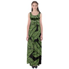 Tropical Leaves On Black Empire Waist Maxi Dress
