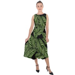 Tropical Leaves On Black Midi Tie Back Chiffon Dress