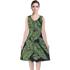 Tropical Leaves On Black V Neck Midi Sleeveless Dress