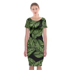 Tropical Leaves On Black Classic Short Sleeve Midi Dress