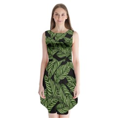 Tropical Leaves On Black Sleeveless Chiffon Dress