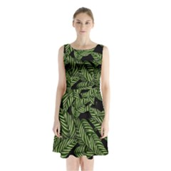 Tropical Leaves On Black Sleeveless Waist Tie Chiffon Dress