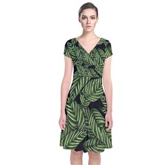 Tropical Leaves On Black Short Sleeve Front Wrap Dress