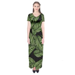 Tropical Leaves On Black Short Sleeve Maxi Dress