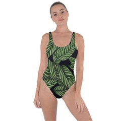 Tropical Leaves On Black Bring Sexy Back Swimsuit