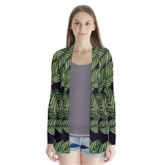 Tropical Leaves On Black Drape Collar Cardigan