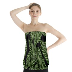 Tropical Leaves On Black Strapless Top