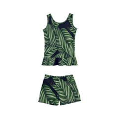 Tropical Leaves On Black Kid s Boyleg Swimsuit