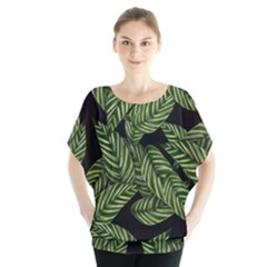 Tropical Leaves On Black Batwing Chiffon Blouse