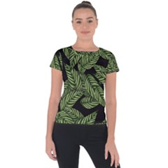 Tropical Leaves On Black Short Sleeve Sports Top