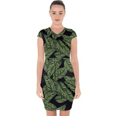 Tropical Leaves On Black Capsleeve Drawstring Dress