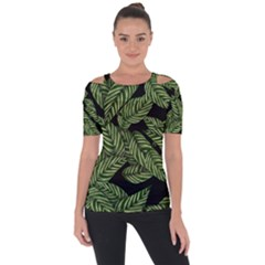 Tropical Leaves On Black Shoulder Cut Out Short Sleeve Top